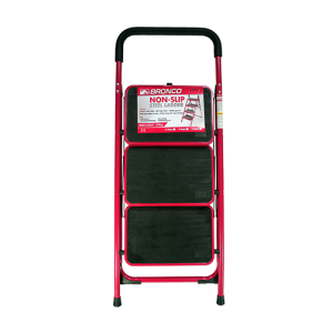 BRONCO-NON-SLIP-STEEL-LADDER-RED-3-STEPS-1
