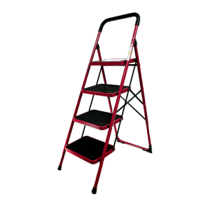 BRONCO-NON-SLIP-STEEL-LADDER-RED-4-STEPS-3