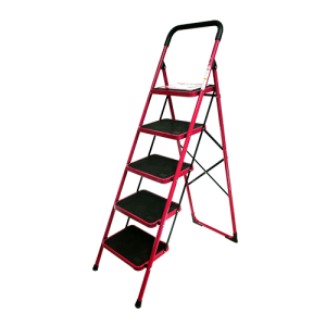 BRONCO-NON-SLIP-STEEL-LADDER-RED-5-STEPS-3